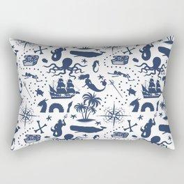 High Seas Adventure // Navy Blue Rectangular Pillow
