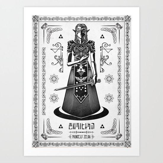 Legend of Zelda Princess Zelda Line Work  Art Print