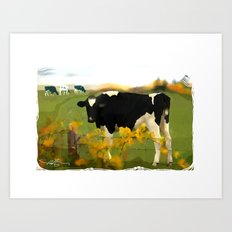 Cow Folk Art Print