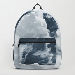 Abstract navy blue gray white watercolor hand painted clouds Backpack
