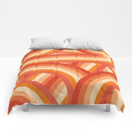 Red, Orange and Cream 70's Style Rainbow Stripes Comforters