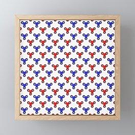 Finger Spinner Polka Dot Red and Blue Pattern Framed Mini Art Print