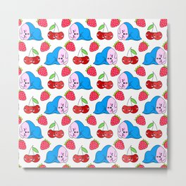 Cute funny sweet adorable little sleeping pink baby bunnies, little cherries and red ripe summer strawberries cartoon fantasy white pattern design Metal Print