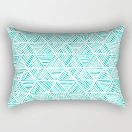Aquamarine Watercolor Triangular Pattern Rectangular Pillow
