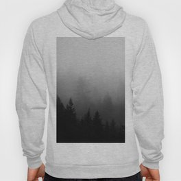 Minimalist Black and White Foggy Misty Landscape Photography Pine Forest Hoody