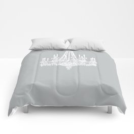 Chic White and Gray Chandelier   Comforters