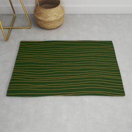 Hand Drawn Lines - Orange / Dark Green Rug