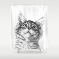 Kitten looking up G115 Shower Curtain