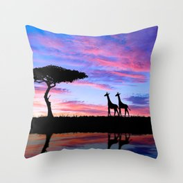 Lonely Tree And Giraffes Silhouette In African Savannah At Sunset Ultra HD Throw Pillow
