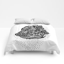 Hong Kong Dim Sum Wonton Doodle in BW Comforters