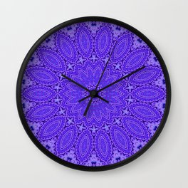 Lovely Healing Mandala  in Brilliant Colors: Purple and Blue Wall Clock