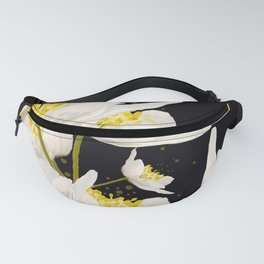 White Flowers On A Black Background #decor #buyart #society6 Fanny Pack