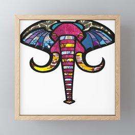 Purple Floral Elephant Framed Mini Art Print