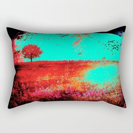 Neon Turquoise Hills Rectangular Pillow