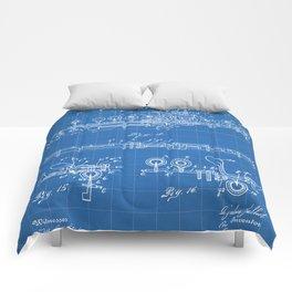 Flute Patent - Musician Art - Blueprint Comforters