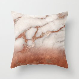 Shiny Copper Metal Foil Gold Ombre Bohemian Marble Throw Pillow