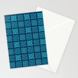 N175 - Heritage Calm Blue Geometric Traditional Moroccan Andalusian Style   Stationery Cards