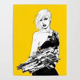 Badass girl with gun in comic pop art style Poster
