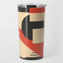 Geometrical abstract art deco mash-up scarlet beige Travel Mug