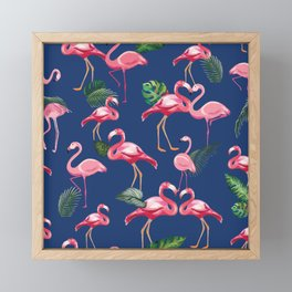 Flamingos Love Pattern 8 Framed Mini Art Print
