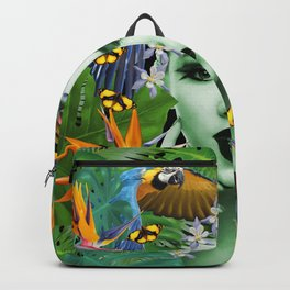 Woman Macaw Heliconia Flowers Artwork Jungle Backpack
