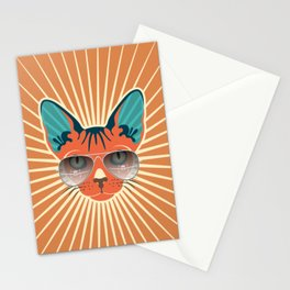 Retro Hipcat & His Sunglasses - Raw Sienna Sunburst Stationery Cards