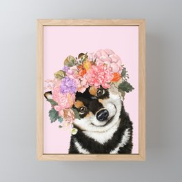 Black Shiba Inu with Flower Crown Pink Framed Mini Art Print