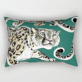 Snow leopard in green Rectangular Pillow