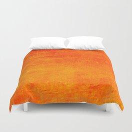 Orange Sunset Textured Acrylic Painting Duvet Cover