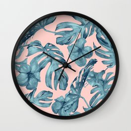 Island Life Teal on Light Pink Wall Clock