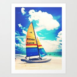 Siesta Key, FL - Sailboat Art Print
