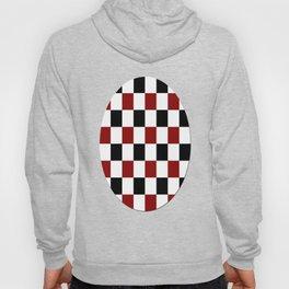 Black White Red Checker Hoody