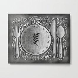 Chalkboard Bon Appetit Kitchen Art Metal Print