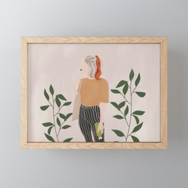 Girl and Green Framed Mini Art Print