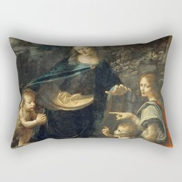 "Leonardo da Vinci ""The Virgin of the Rocks"" (Louvre) Rectangular Pillow"