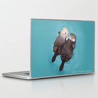 her Laptop & iPad Skins featuring Otterly Romantic - Otters Holding Hands by When Guinea Pigs Fly