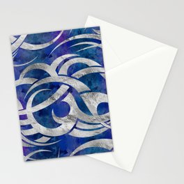 Abstract Maori curve shapes - Silver & Purple Stationery Cards