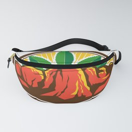 Canyon With Hemp Leaf Oval Retro Fanny Pack