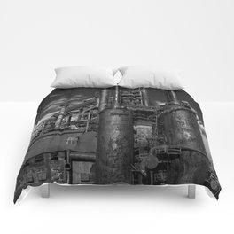 Black and White Bethlehem Steel Blast Furnaces Comforters