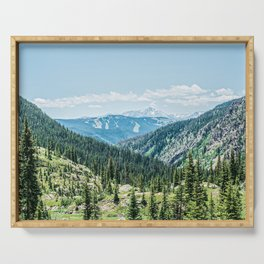 Mountain Landscape // Ski Resort Runs in Summer Epic Green Forest Wilderness Photograph Serving Tray
