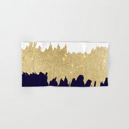 Modern navy blue white faux gold glitter brushstrokes Hand & Bath Towel