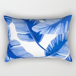 Blue Tropical Leaves Print Rectangular Pillow