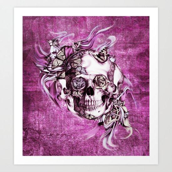 Plum Smoke and roses skull Illustration. Art Print