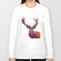 art Long Sleeve T-shirts featuring Red Deer // Stag by Amy Hamilton