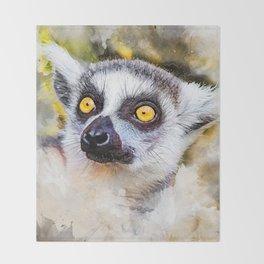 Lemur #lemur #animals Throw Blanket