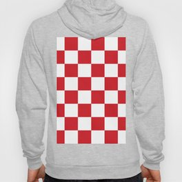 Large Checkered - White and Fire Engine Red Hoody
