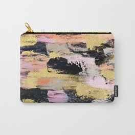 Modern abstract black pink salmon gold hand painted acrylic brushstrokes paint Carry-All Pouch