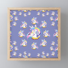 Magical Rainbow Unicorn pattern 01 Framed Mini Art Print