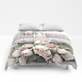 Shabby Chic Dreamy Pink Roses Cottage Floral Decor Comforters