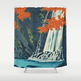 Tokuriki Tomikichiro Minoh Waterfall Japanese Woodblock Print Shower Curtain